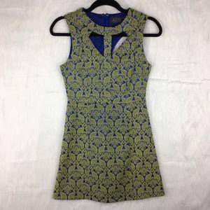 ASTR Brocade Cut Out A Line Mini Dress